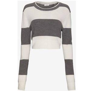 A.L.C. Brandie Gray Striped Cropped Sweater S
